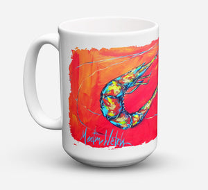 Buy this Shrimp Seafood Three Dishwasher Safe Microwavable Ceramic Coffee Mug 15 ounce MW1097CM15