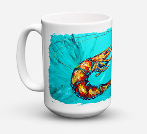 Buy this Shrimp Teal Shrimp Dishwasher Safe Microwavable Ceramic Coffee Mug 15 ounce MW1100CM15