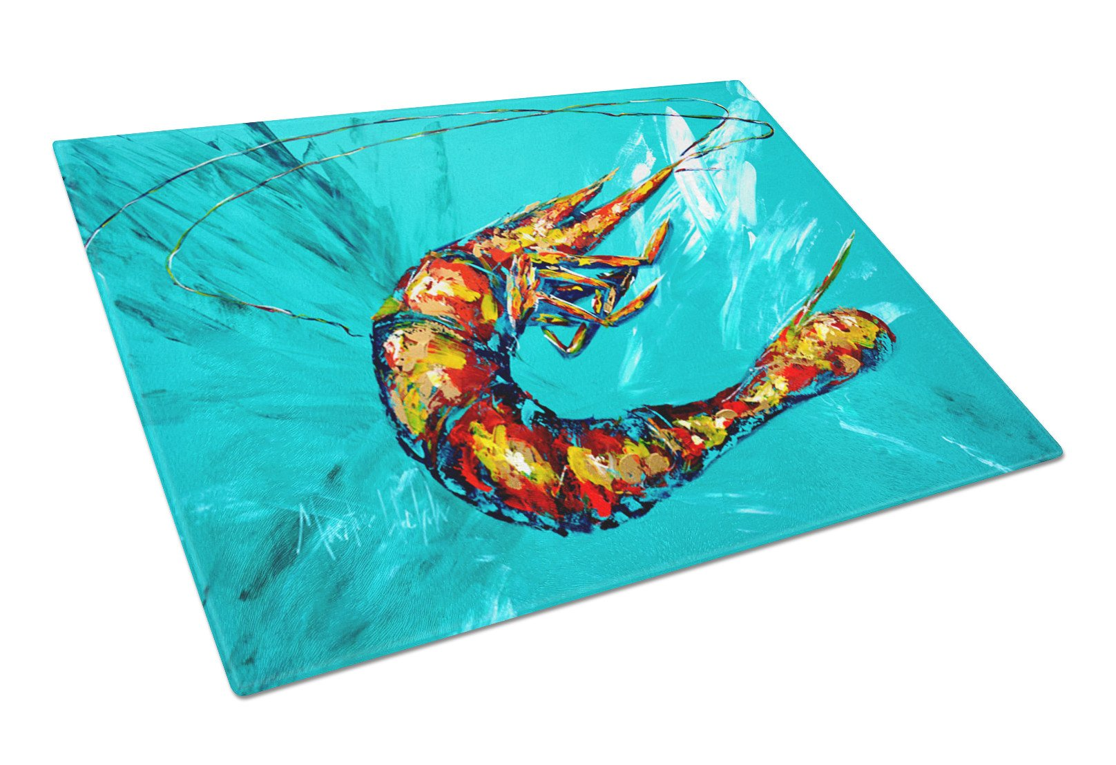 Shrimp Teal Shrimp Glass Cutting Board Large by Caroline's Treasures