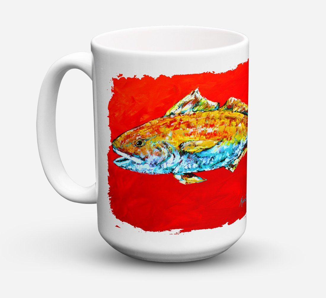 Fish - Red Fish Red Head Dishwasher Safe Microwavable Ceramic Coffee Mug 15 ounce MW1111CM15 by Caroline's Treasures