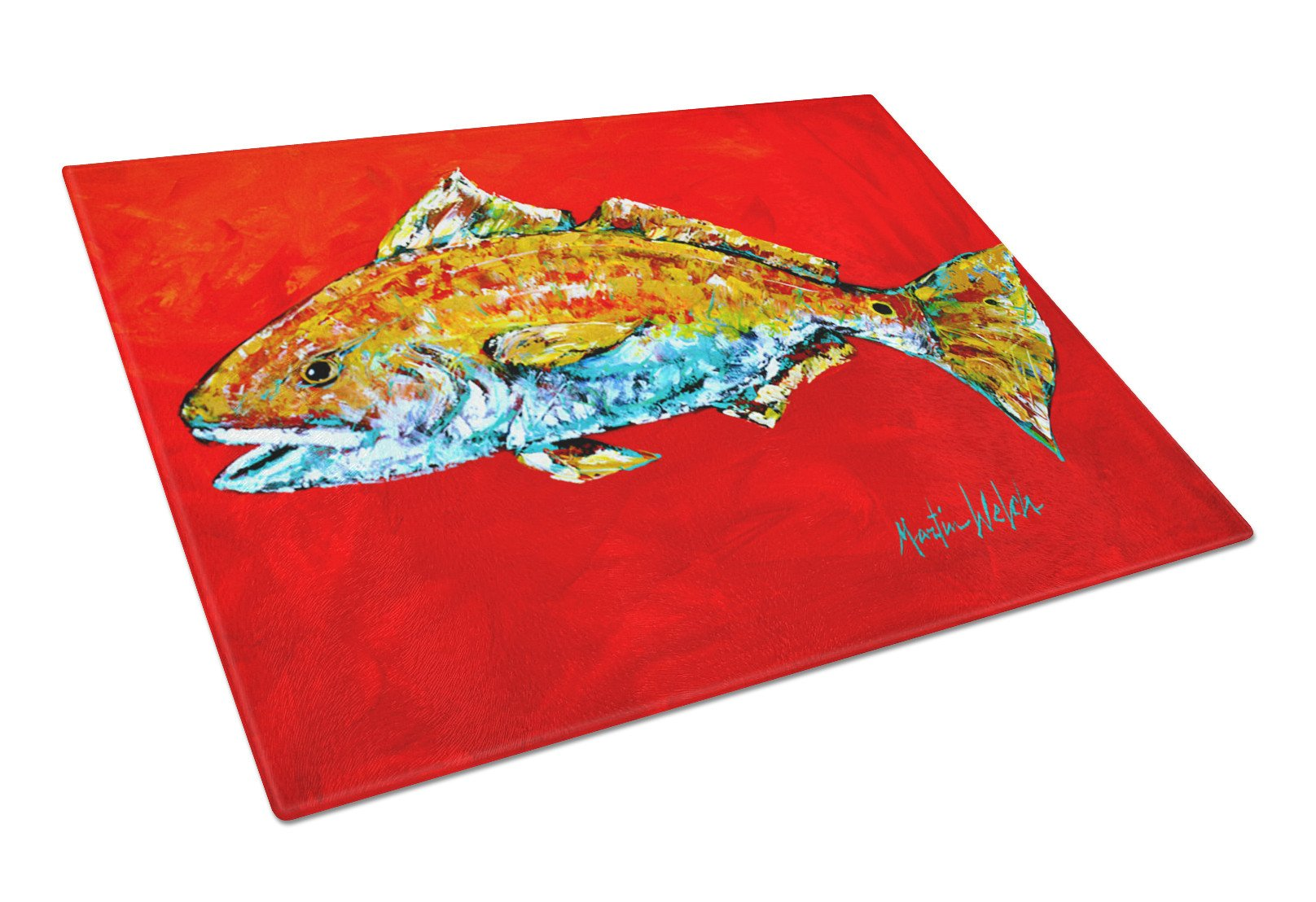 Fish - Red Fish Red Head Glass Cutting Board Large by Caroline's Treasures