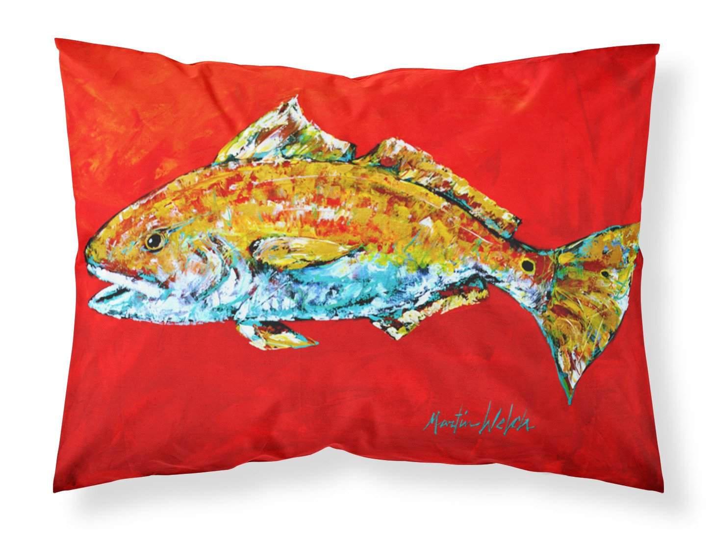 Fish - Red Fish Red Head Moisture wicking Fabric standard pillowcase by Caroline's Treasures