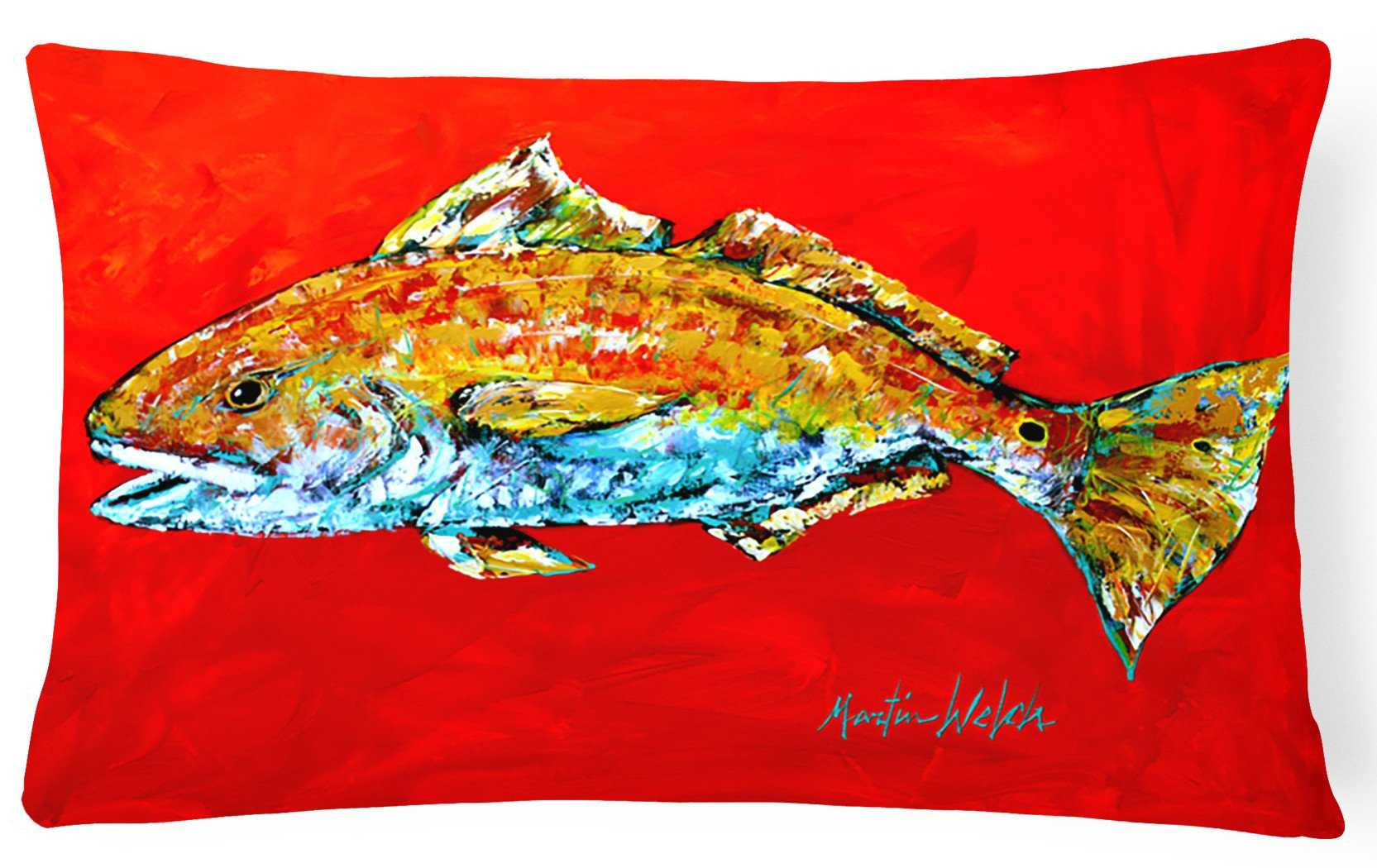 Fish - Red Fish Red Head   Canvas Fabric Decorative Pillow by Caroline's Treasures