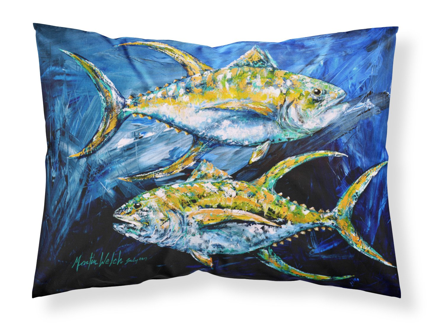 Fish - Tuna Tuna Blue Moisture wicking Fabric standard pillowcase by Caroline's Treasures