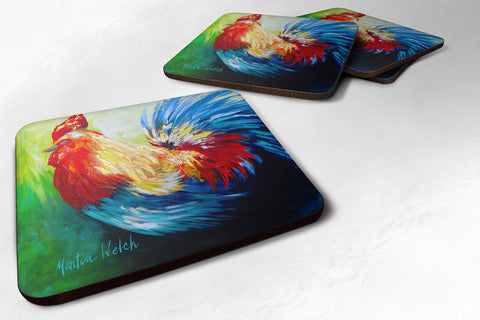 Buy this Set of 4 Bird - Rooster Chief Big Feathers Foam Coasters
