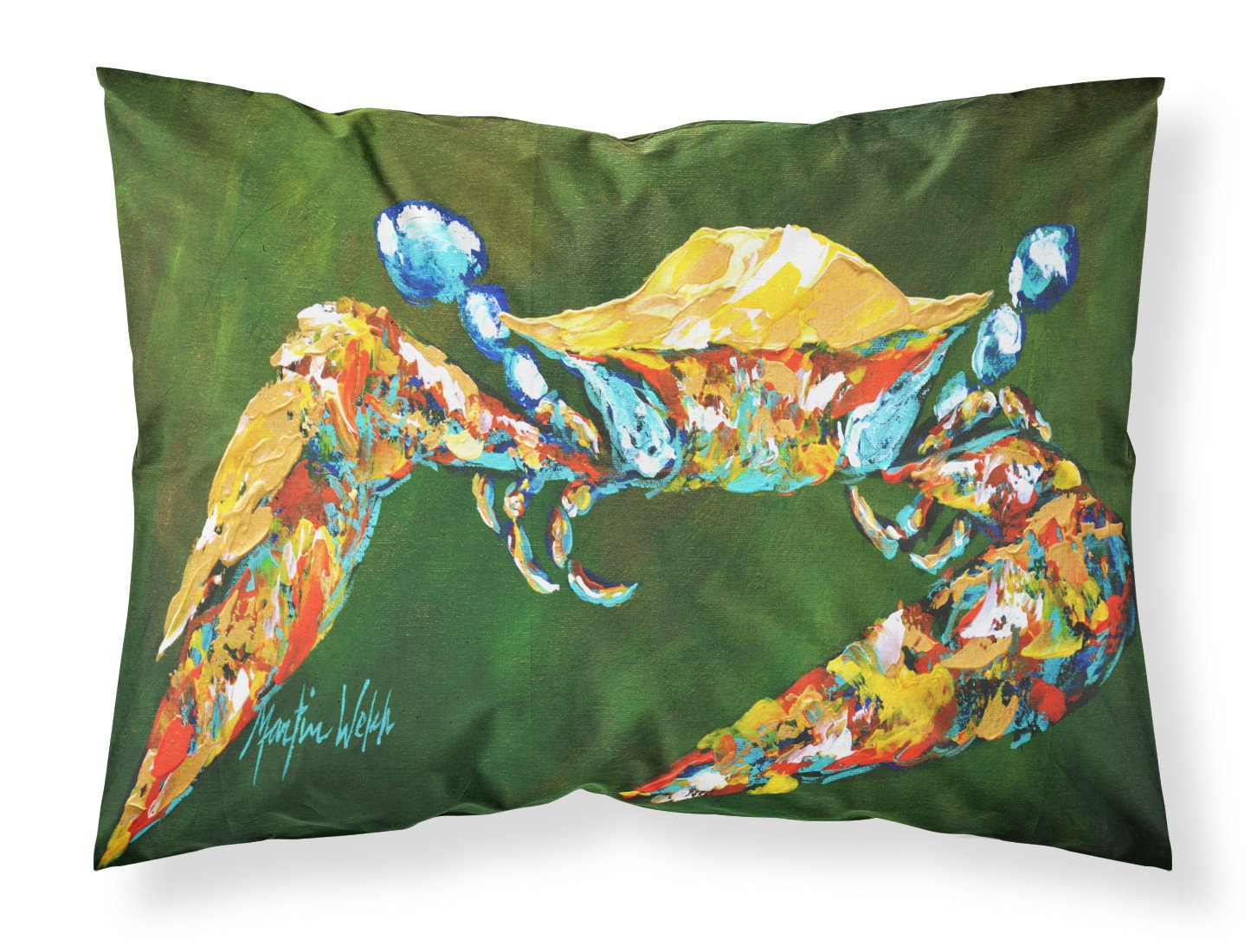 Go Green Crab Moisture wicking Fabric standard pillowcase by Caroline's Treasures