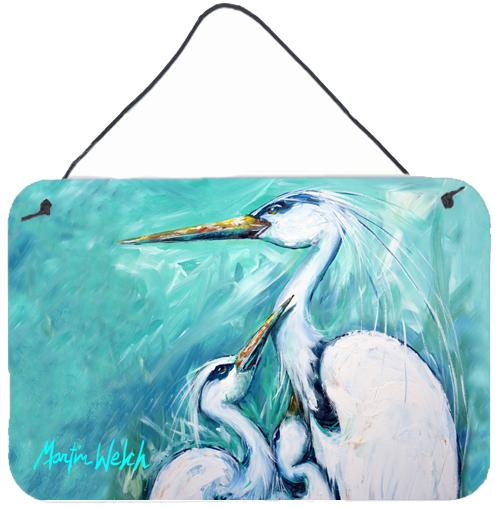 Mother's Love White Crane Wall or Door Hanging Prints MW1159DS812 by Caroline's Treasures