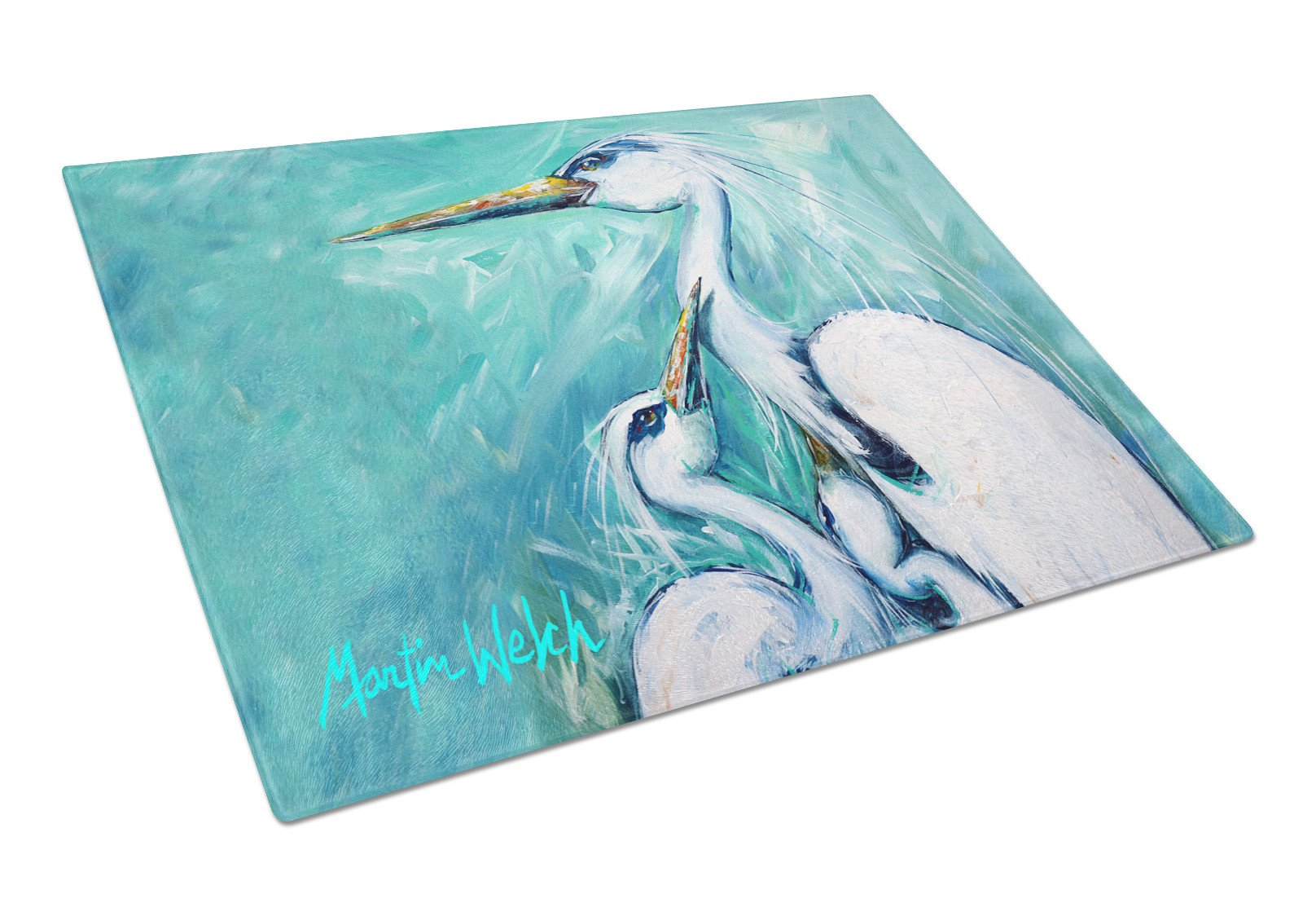 Mother's Love White Crane Glass Cutting Board Large Size MW1159LCB by Caroline's Treasures
