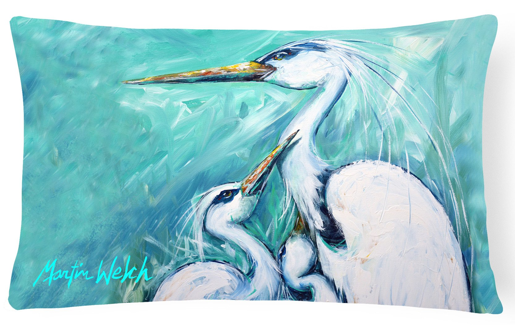 Mother's Love White Crane   Canvas Fabric Decorative Pillow MW1159PW1216 by Caroline's Treasures