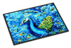 Peacock Straight Up in Blue Indoor or Outdoor Mat 24x36 MW1166JMAT - the-store.com
