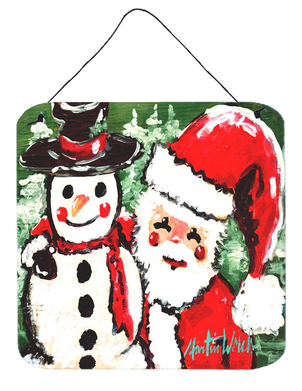 Friends Snowman and Santa Claus Wall or Door Hanging Prints MW1167DS66 by Caroline's Treasures