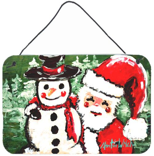 Friends Snowman and Santa Claus Wall or Door Hanging Prints MW1167DS812 by Caroline's Treasures