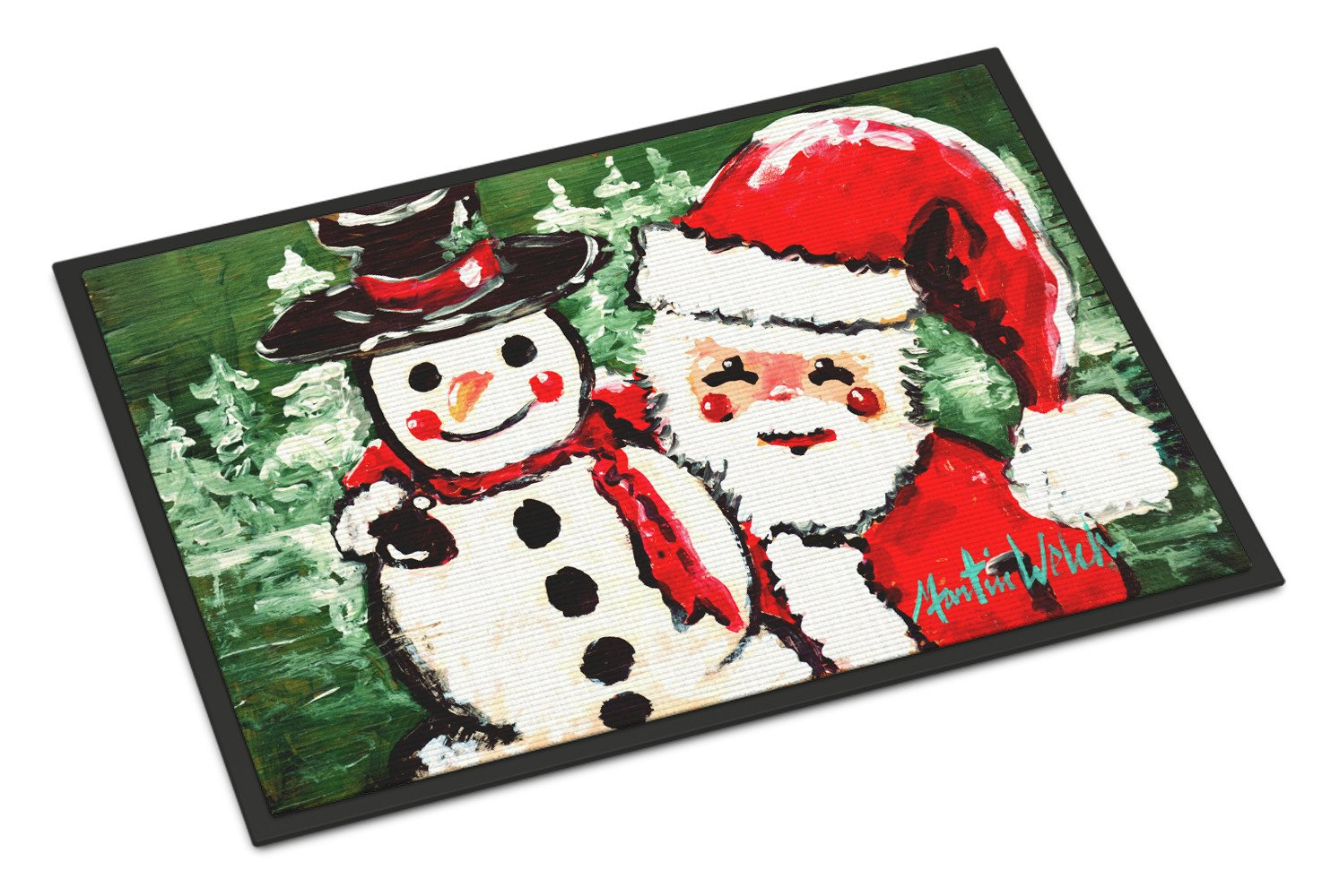 Friends Snowman and Santa Claus Indoor or Outdoor Mat 18x27 MW1167MAT by Caroline's Treasures
