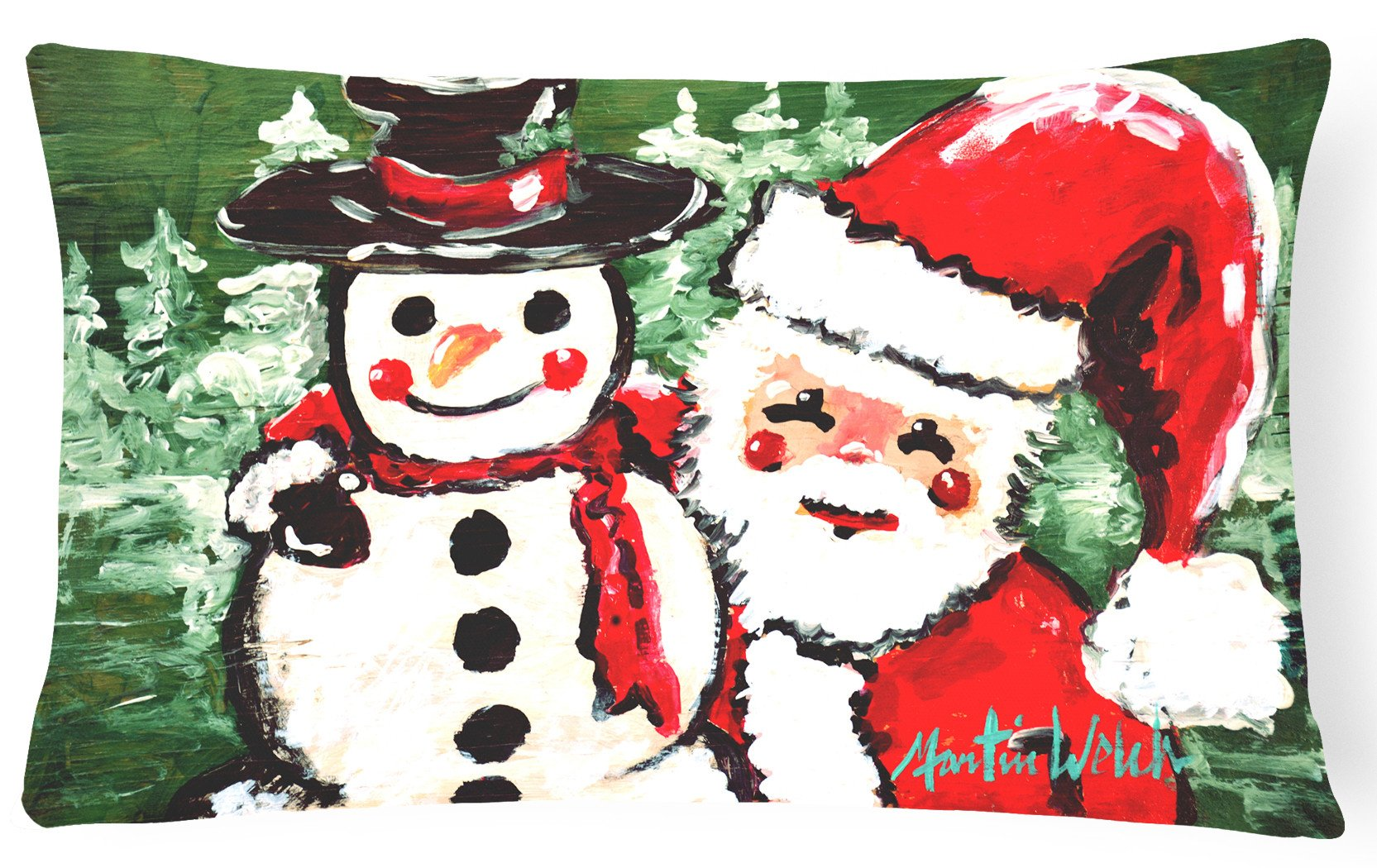 Friends Snowman and Santa Claus   Canvas Fabric Decorative Pillow MW1167PW1216 by Caroline's Treasures
