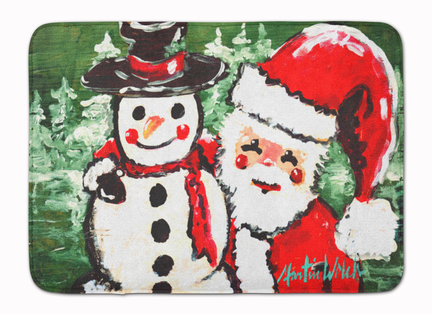 Friends Snowman and Santa Claus Machine Washable Memory Foam Mat MW1167RUG by Caroline's Treasures