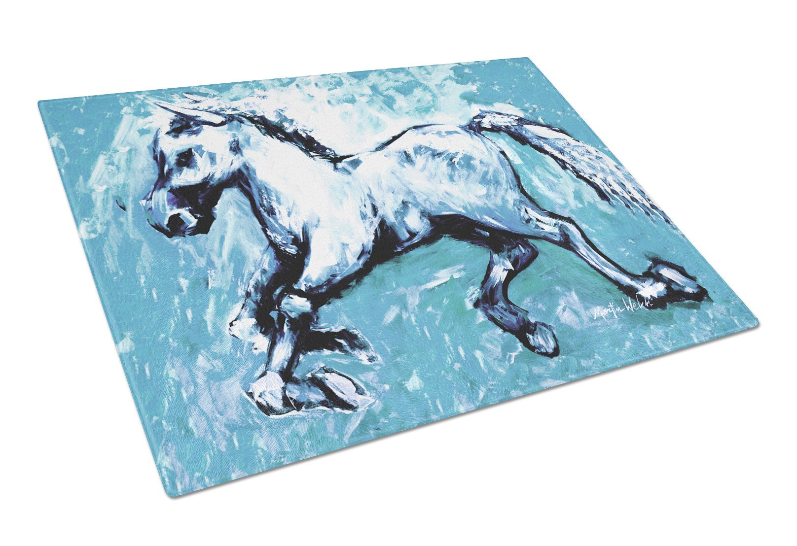 Shadow the Horse in blue Glass Cutting Board Large Size MW1171LCB by Caroline's Treasures