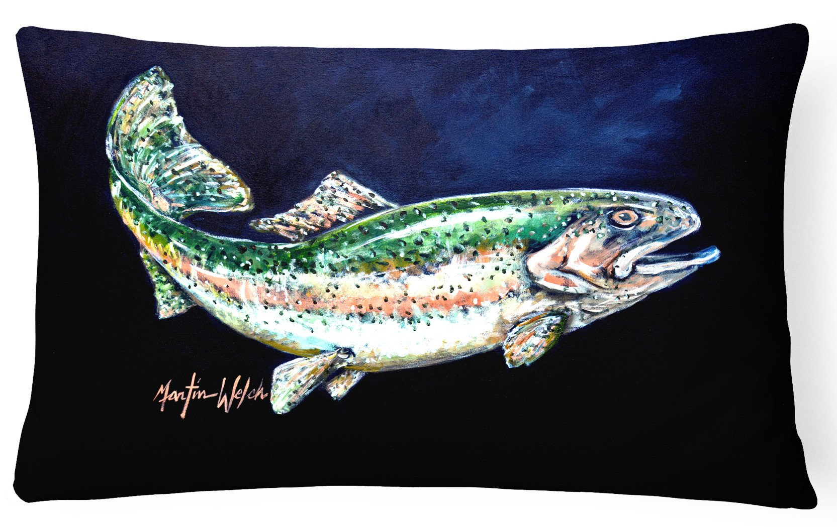 Deep Blue Rainbow Trout Fabric Decorative Pillow MW1213PW1216 by Caroline's Treasures