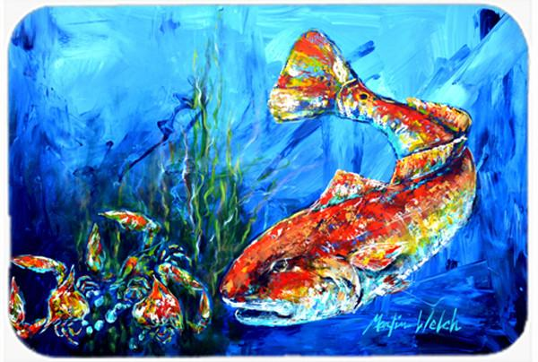 Scattered Red Fish Glass Cutting Board Large MW1214LCB by Caroline's Treasures