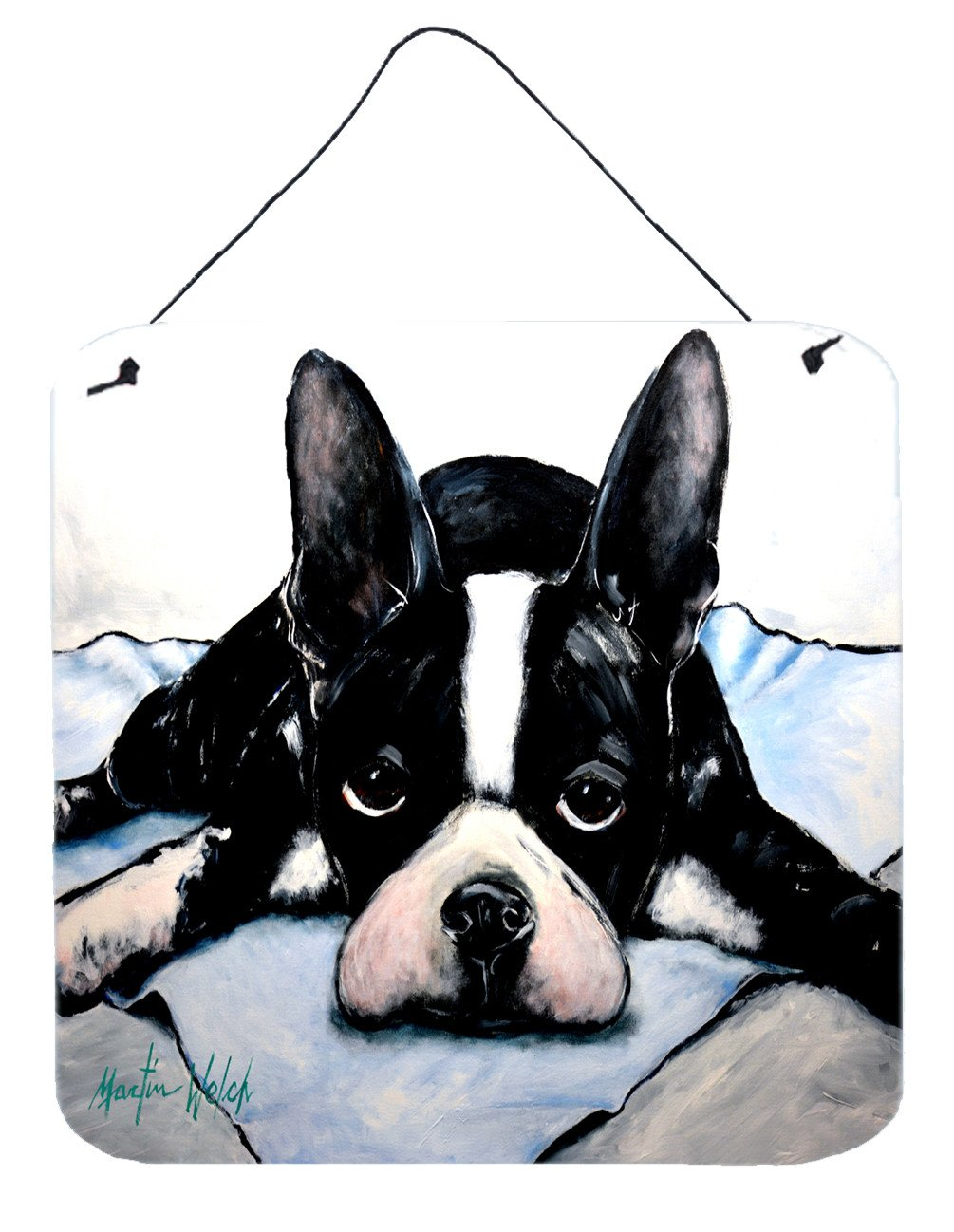 Boston Terrier Jake Dog Tired Wall or Door Hanging Prints MW1241DS66 by Caroline's Treasures