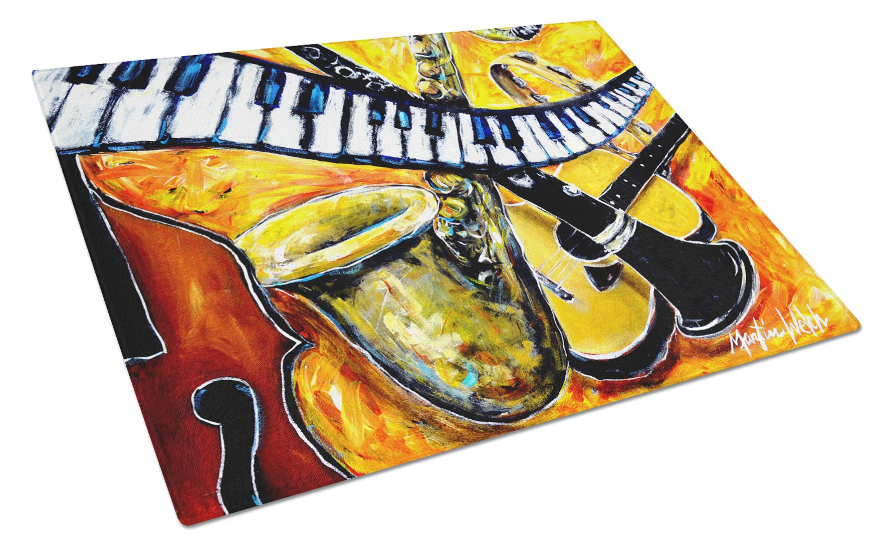 All That Jazz Glass Cutting Board Large MW1267LCB by Caroline's Treasures