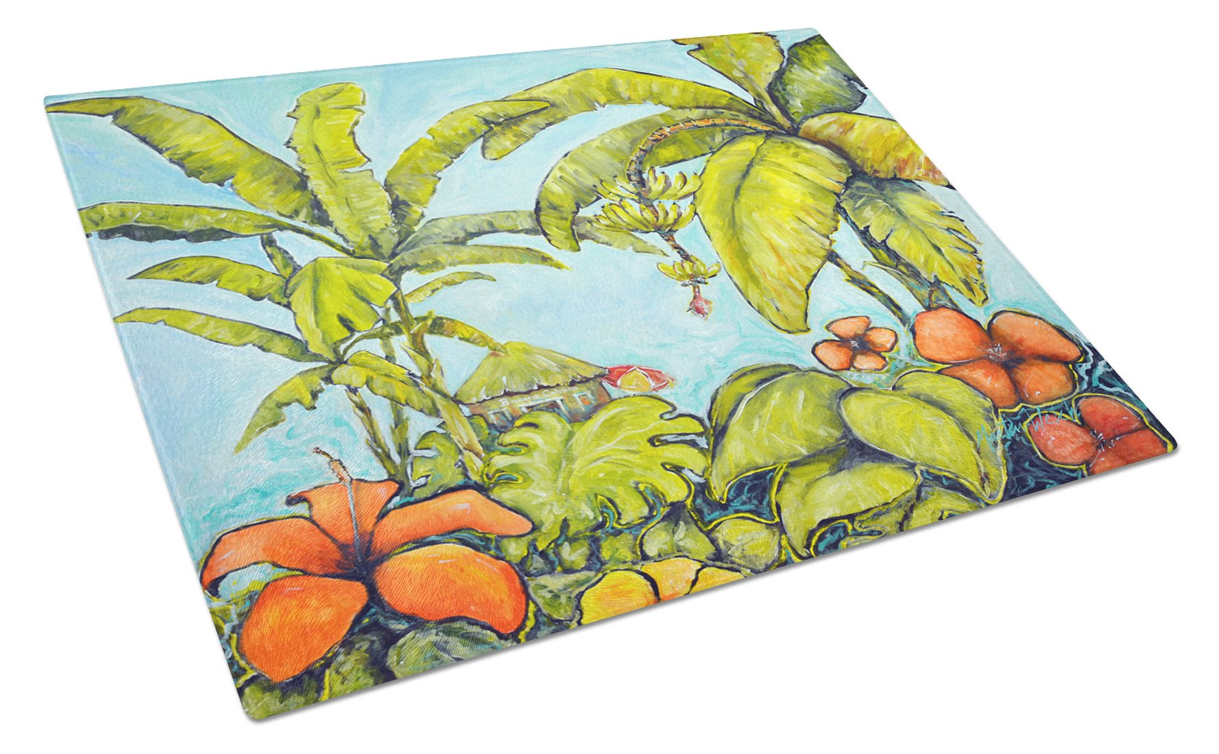 Banana Cabana Glass Cutting Board Large MW1268LCB by Caroline's Treasures