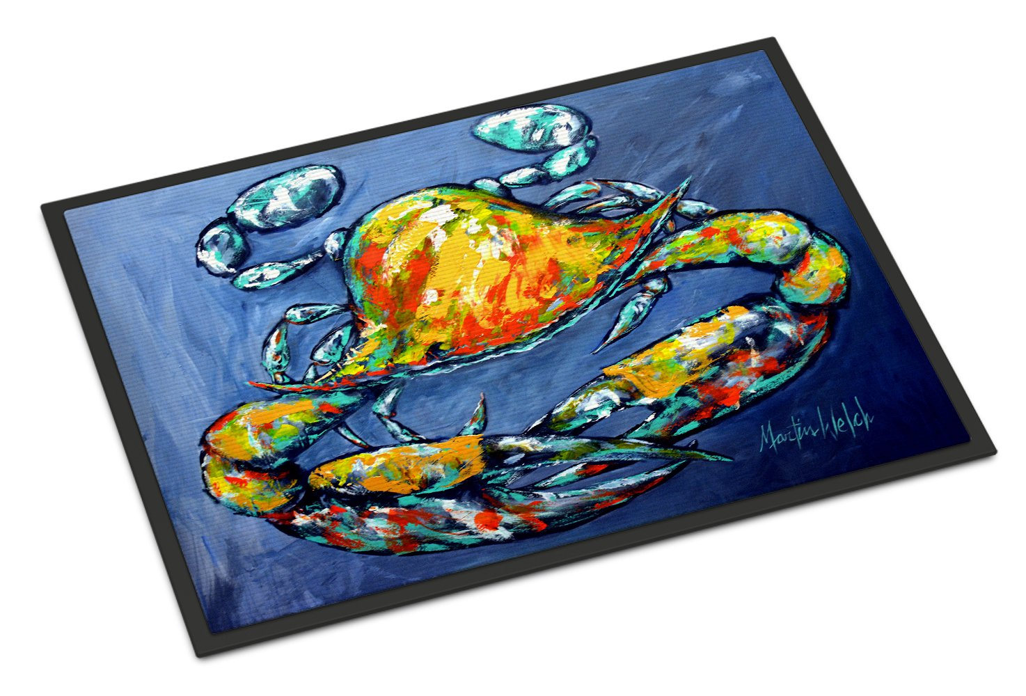 Blue Gray Kinda Day Crab Indoor or Outdoor Mat 24x36 MW1269JMAT by Caroline's Treasures