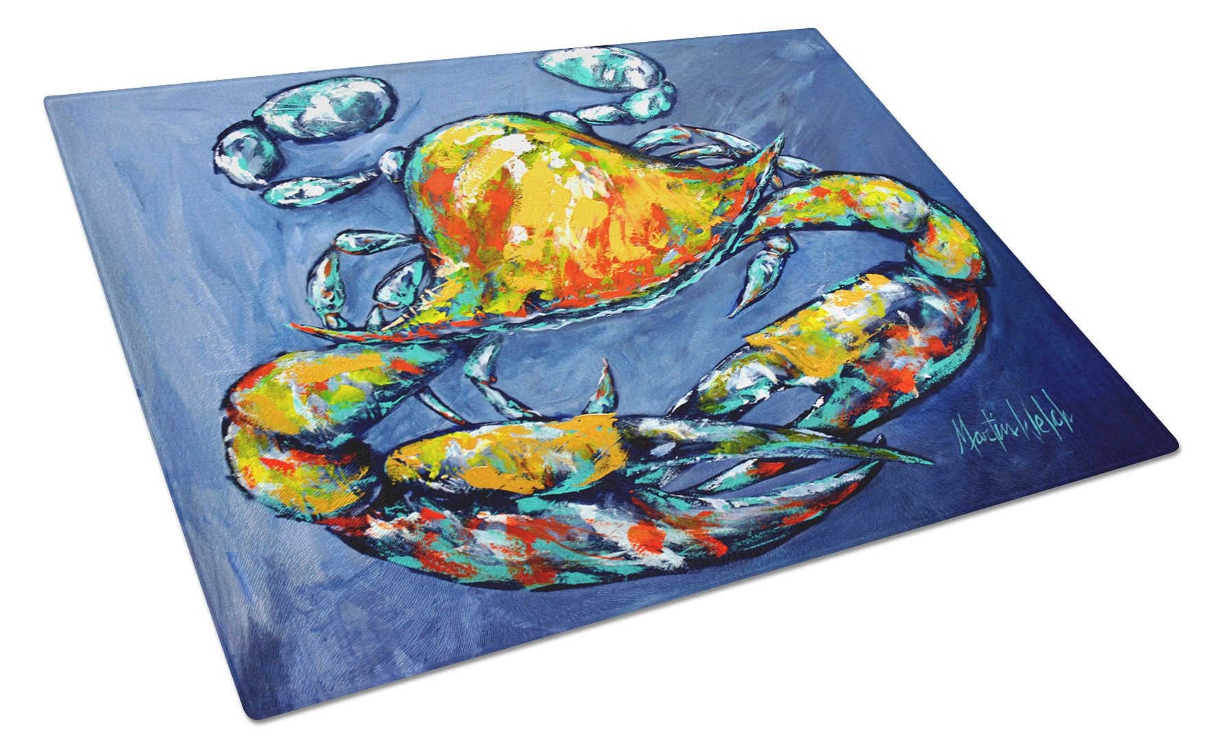 Buy this Blue Gray Kinda Day Crab Glass Cutting Board Large MW1269LCB