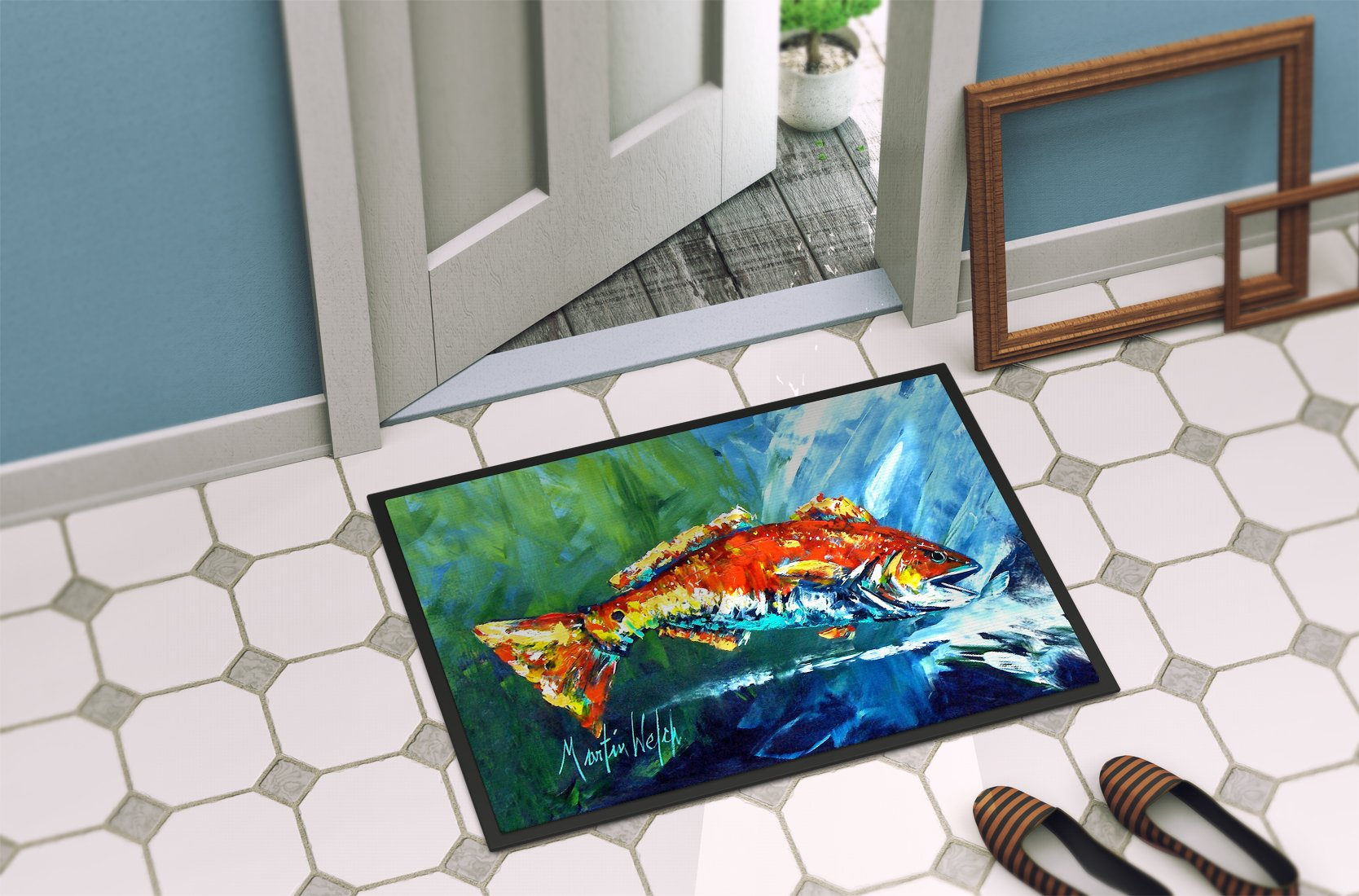 Break Through Red Fish Indoor or Outdoor Mat 24x36 MW1270JMAT by Caroline's Treasures
