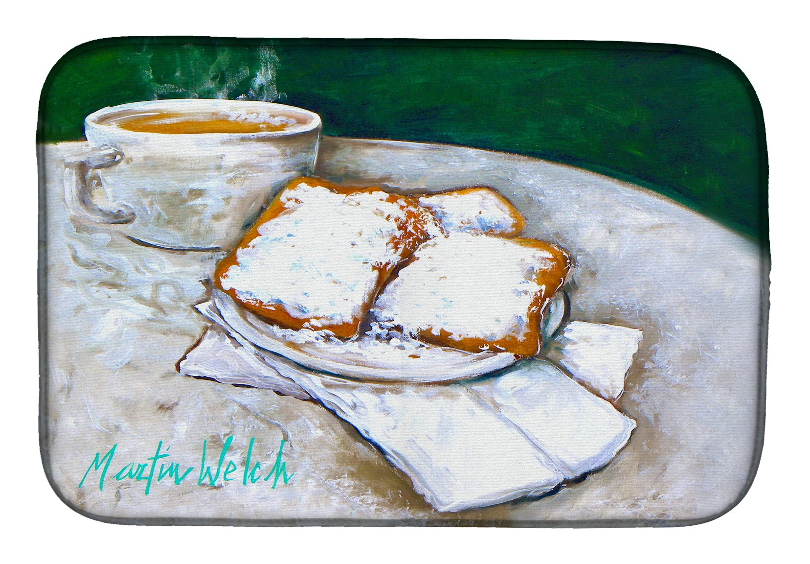 Breakfast Delight Beignets Dish Drying Mat MW1271DDM by Caroline's Treasures