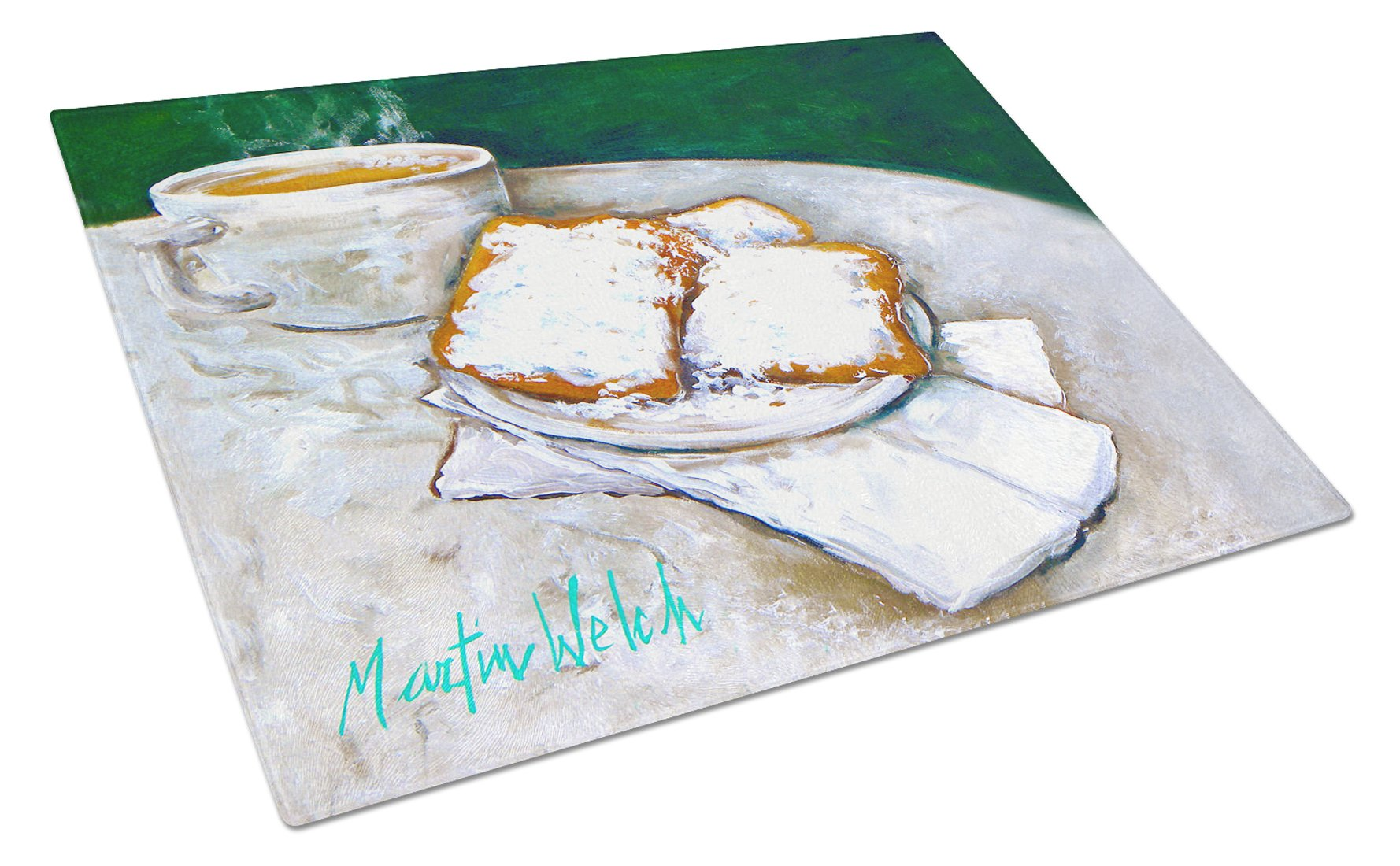 Breakfast Delight Beignets Glass Cutting Board Large MW1271LCB by Caroline's Treasures