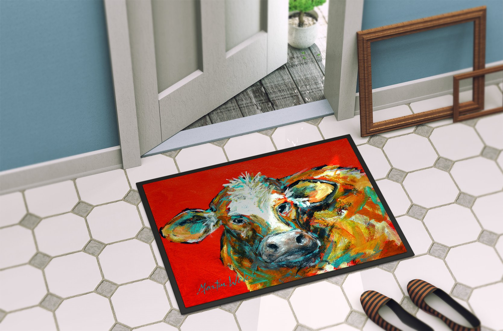 Caught Red Handed Cow Indoor or Outdoor Mat 24x36 MW1272JMAT by Caroline's Treasures