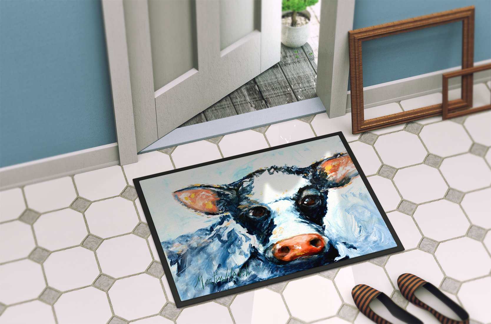 Cow Lick Black and White Cow Indoor or Outdoor Mat 24x36 MW1273JMAT by Caroline's Treasures