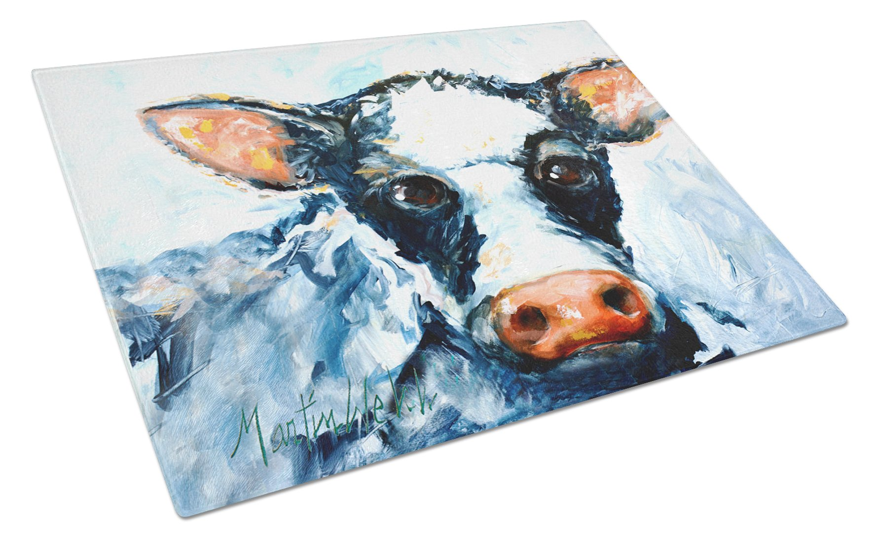 Buy this Cow Lick Black and White Cow Glass Cutting Board Large MW1273LCB