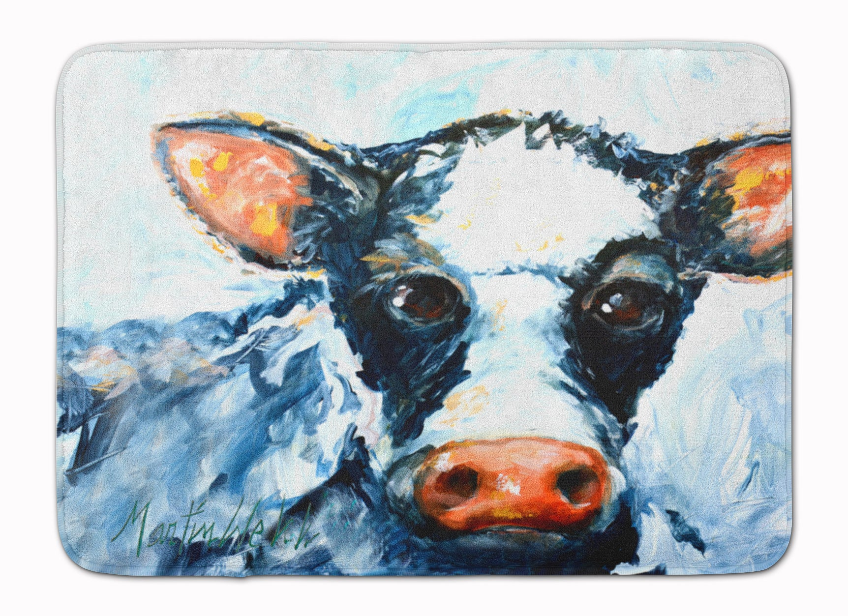 Cow Lick Black and White Cow Machine Washable Memory Foam Mat MW1273RUG by Caroline's Treasures