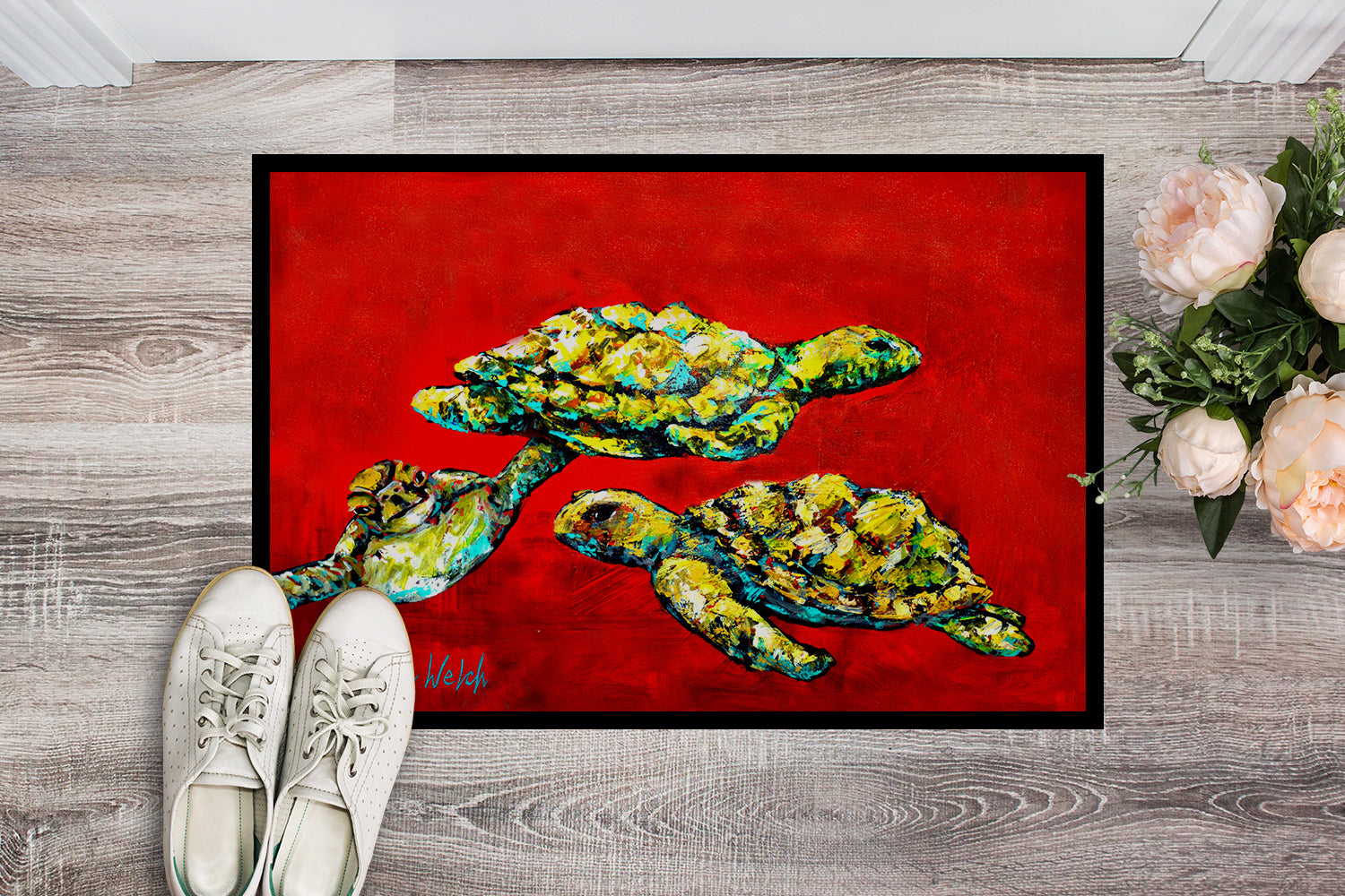 Drifting Home Turtles Indoor or Outdoor Mat 18x27 MW1274MAT by Caroline's Treasures