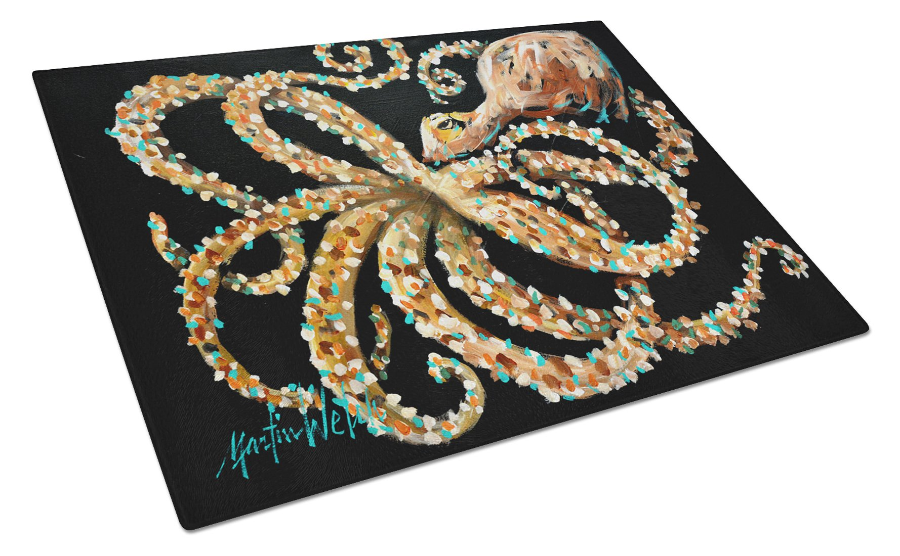 Eye On You Octopus Glass Cutting Board Large MW1275LCB by Caroline's Treasures