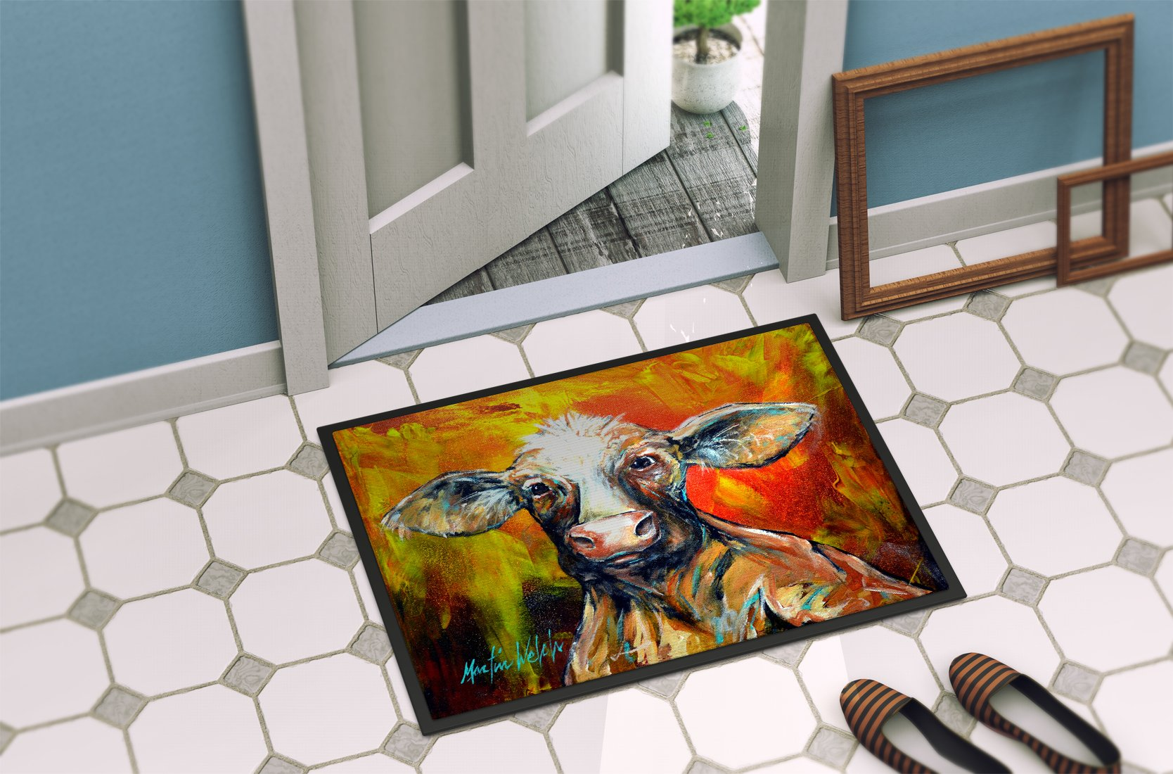 Happy Cow Indoor or Outdoor Mat 24x36 MW1277JMAT by Caroline's Treasures