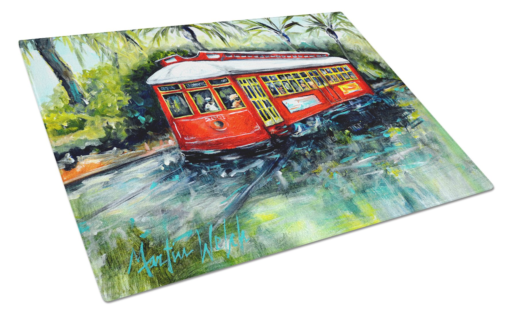 Buy this Little Red Street Car Glass Cutting Board Large MW1278LCB