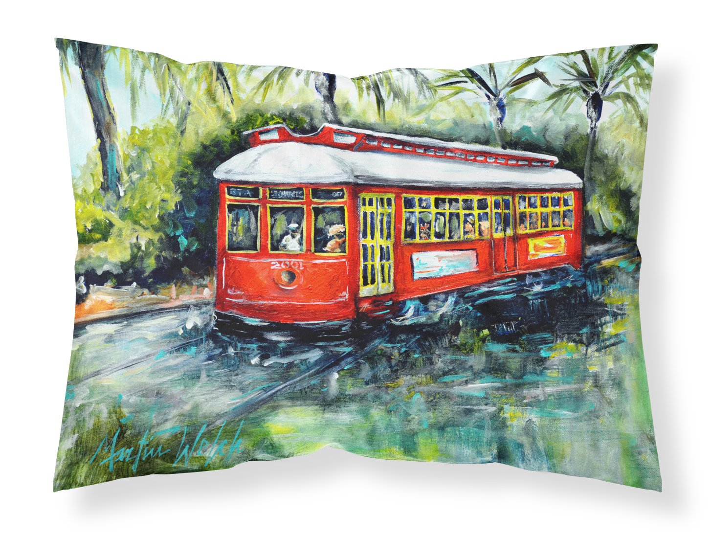 Buy this Little Red Street Car Fabric Standard Pillowcase MW1278PILLOWCASE