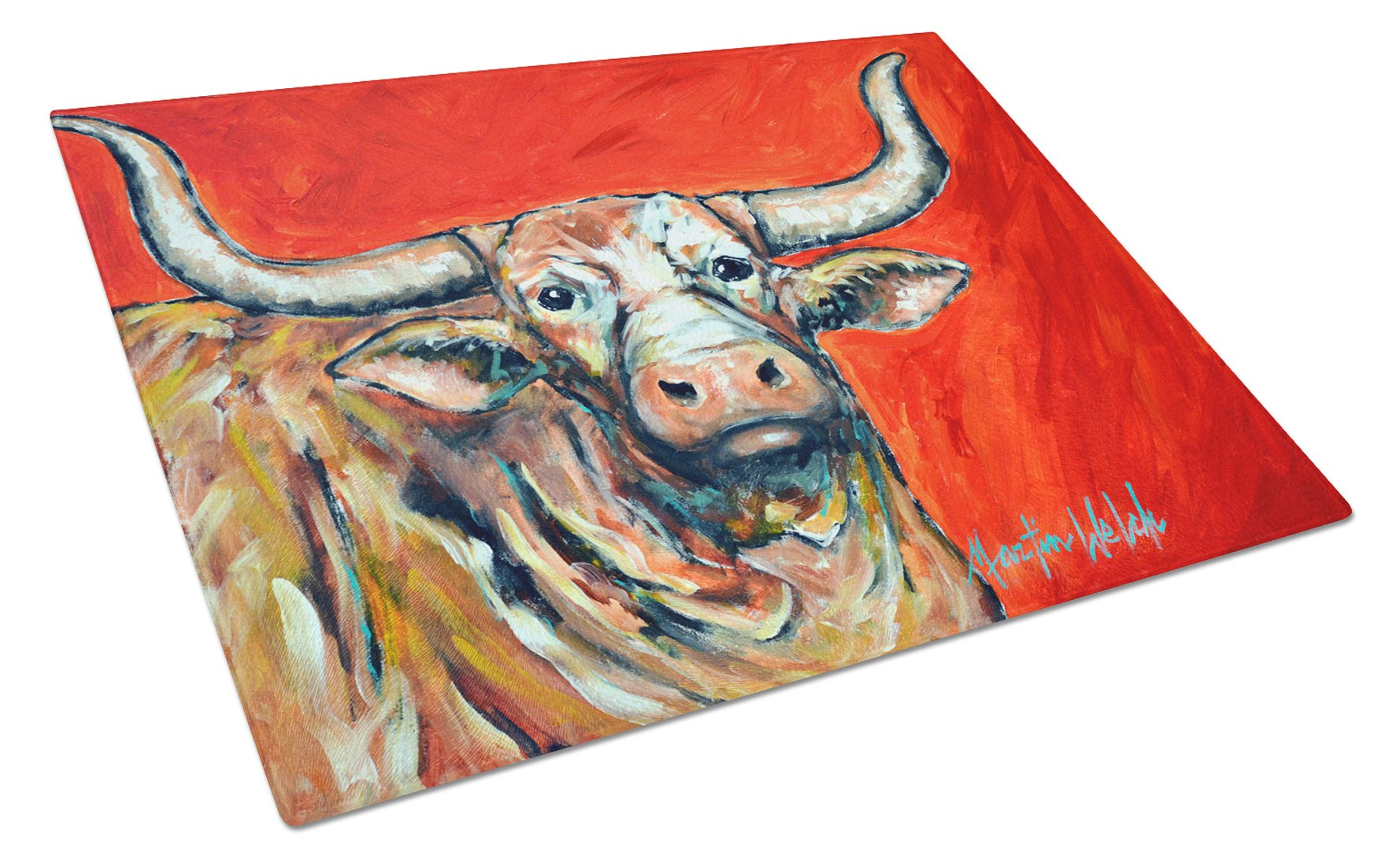 Buy this See Red Longhorn Cow Glass Cutting Board Large MW1281LCB