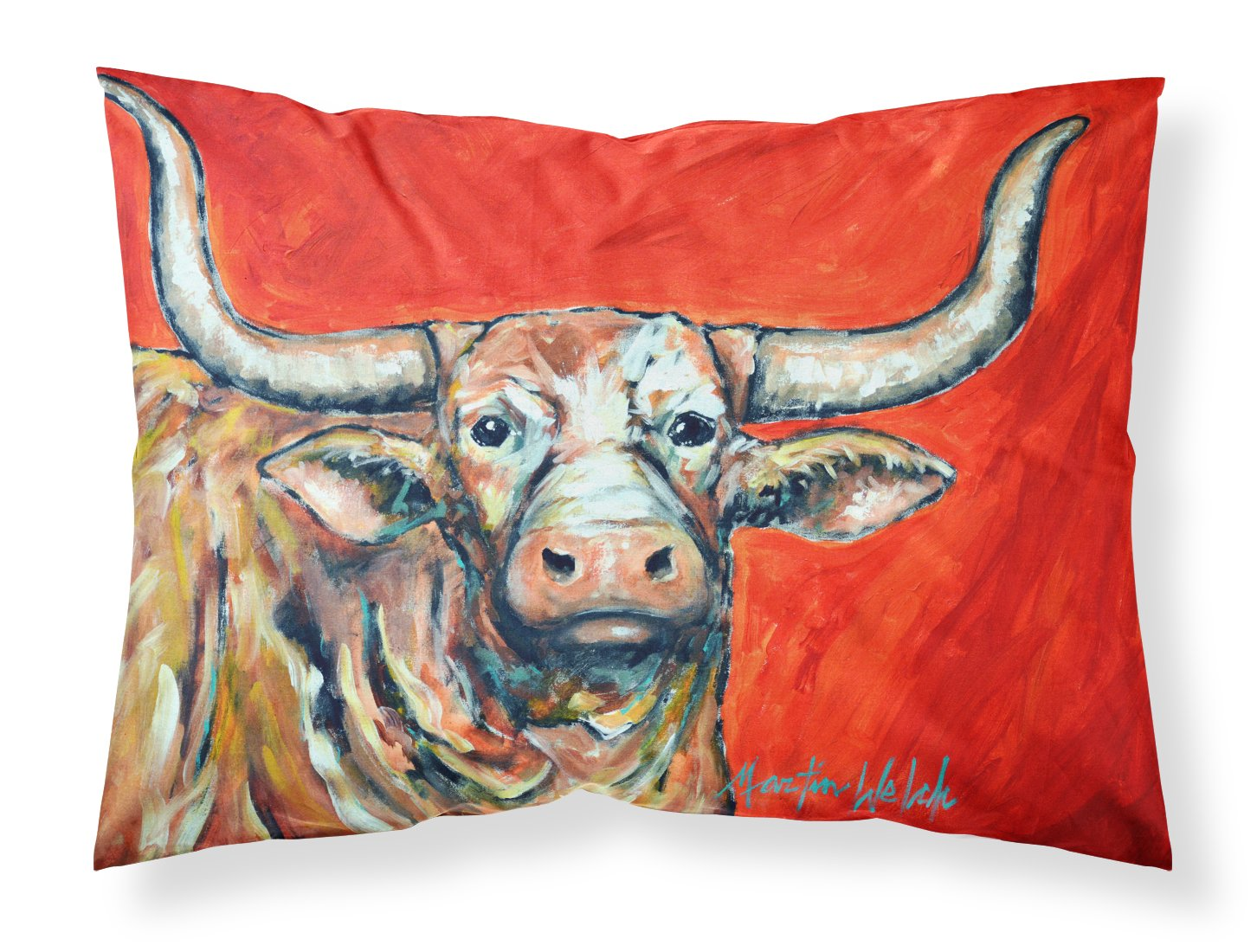 Buy this See Red Longhorn Cow Fabric Standard Pillowcase MW1281PILLOWCASE