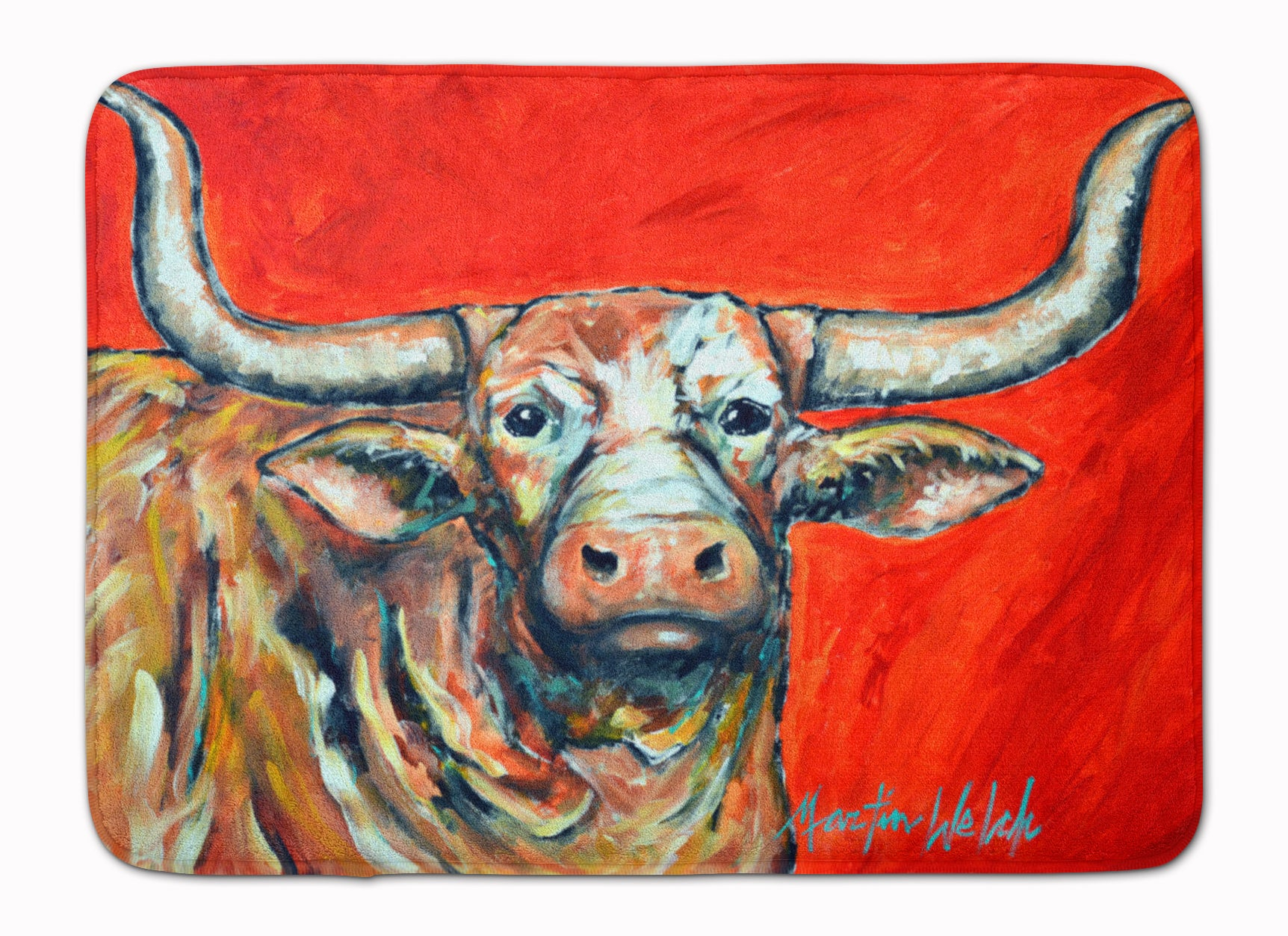Buy this See Red Longhorn Cow Machine Washable Memory Foam Mat MW1281RUG