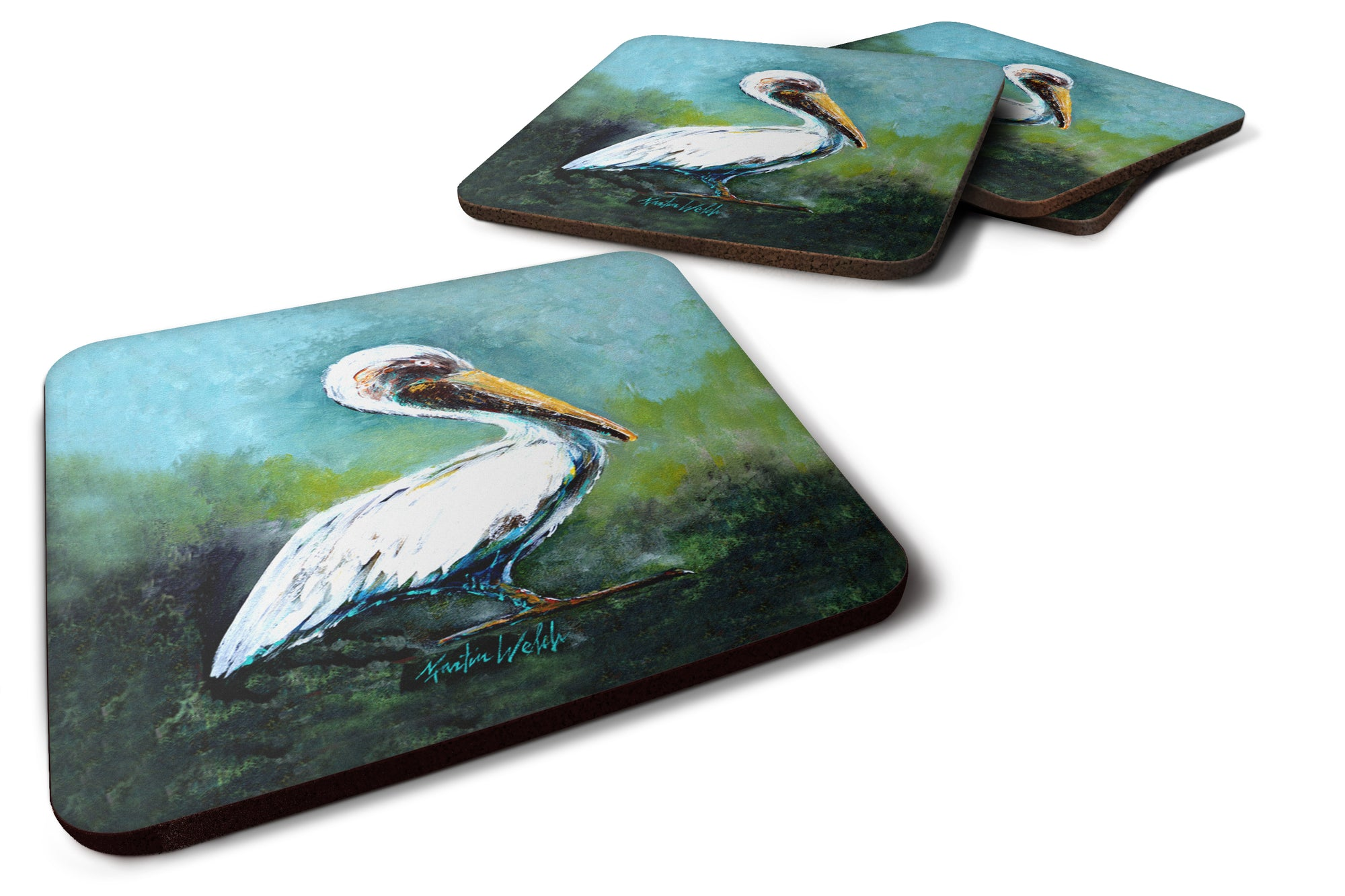 Buy this Blue Stand White Pelican Foam Coaster Set of 4 MW1309FC