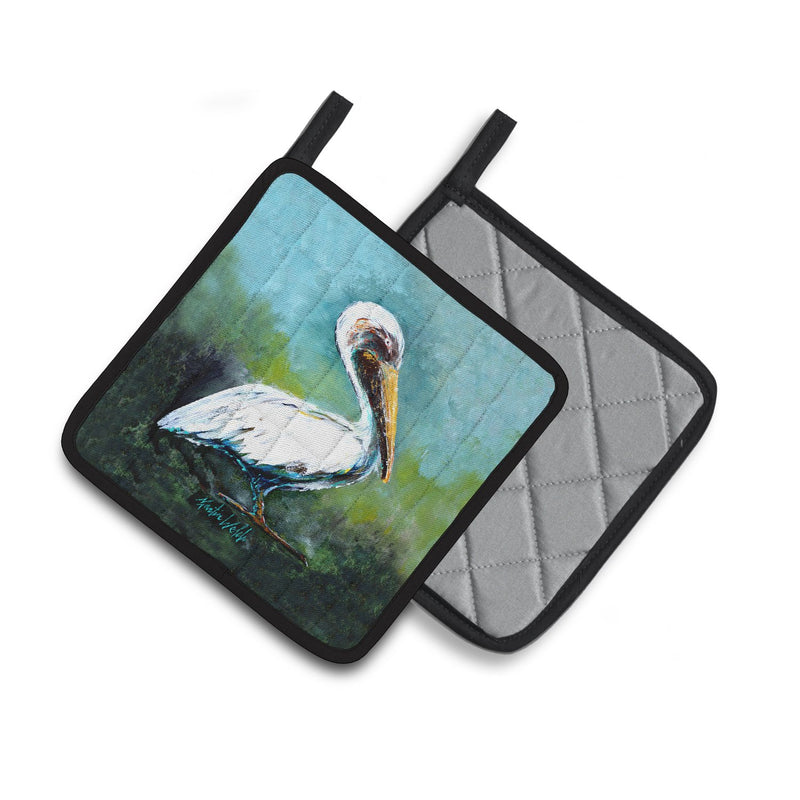 Buy this Blue Stand White Pelican Pair of Pot Holders MW1309PTHD