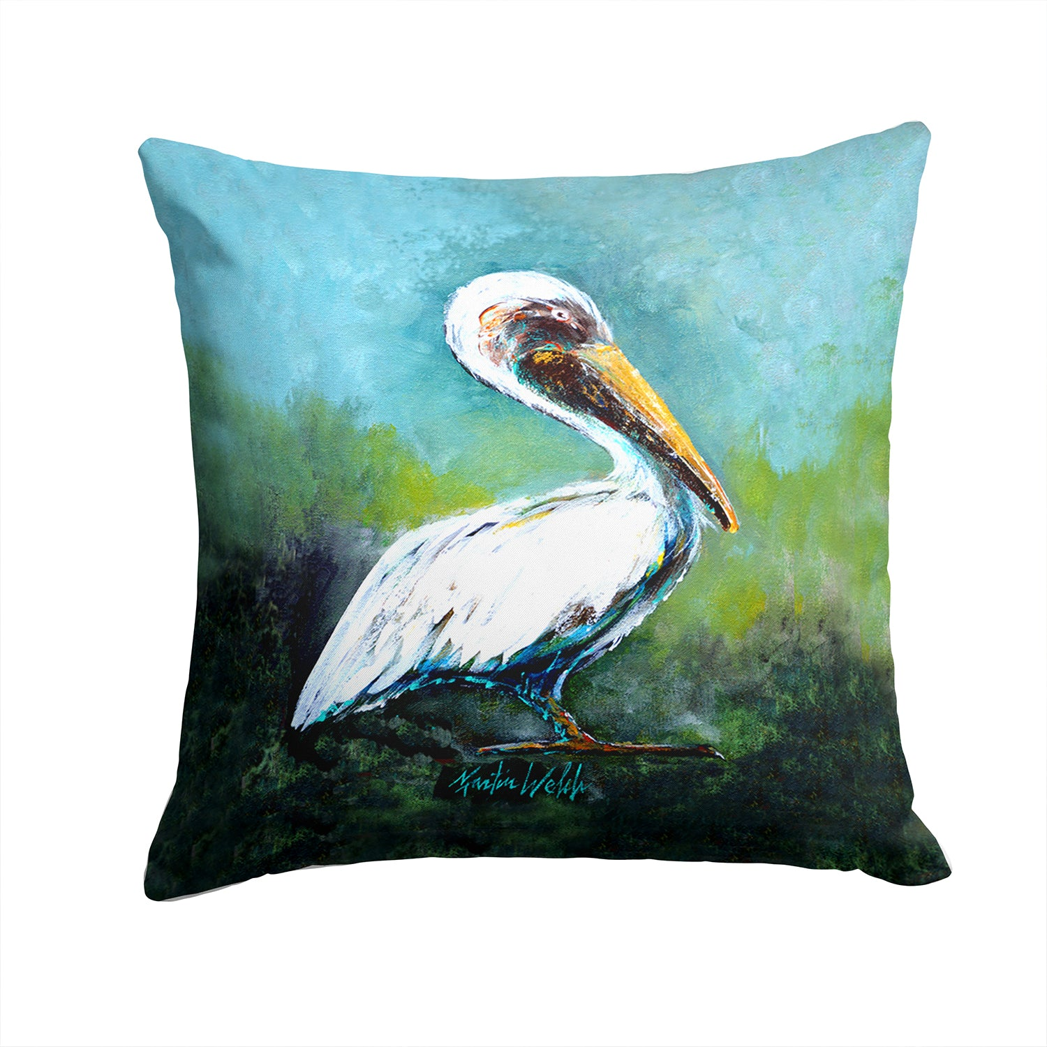 Buy this Blue Stand White Pelican Fabric Decorative Pillow MW1309PW1414