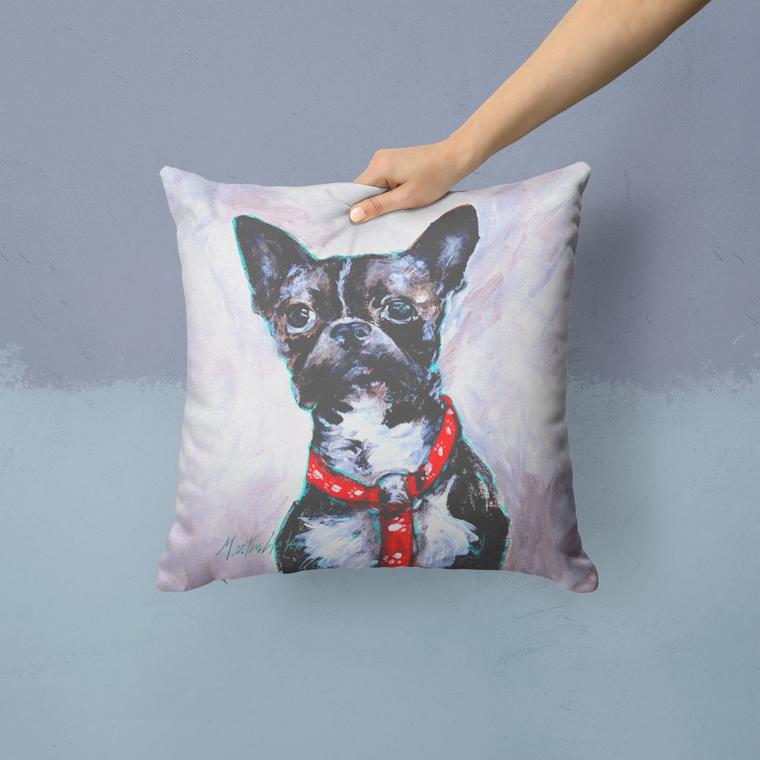 Boston Terrier Brindle Ziggy Fabric Decorative Pillow MW1312PW1414 by Caroline's Treasures