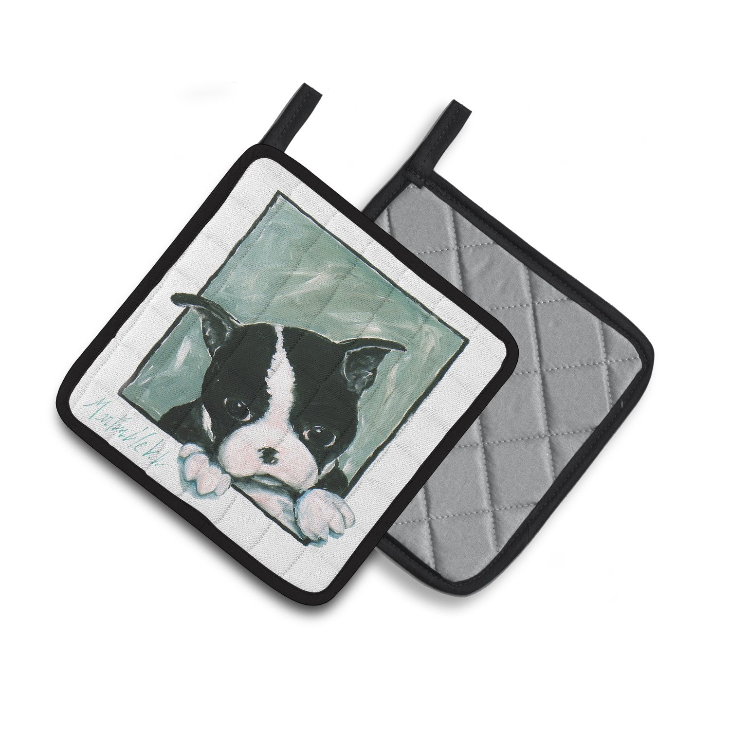 Boston Terrier Don't Leave Me Pair of Pot Holders MW1313PTHD by Caroline's Treasures