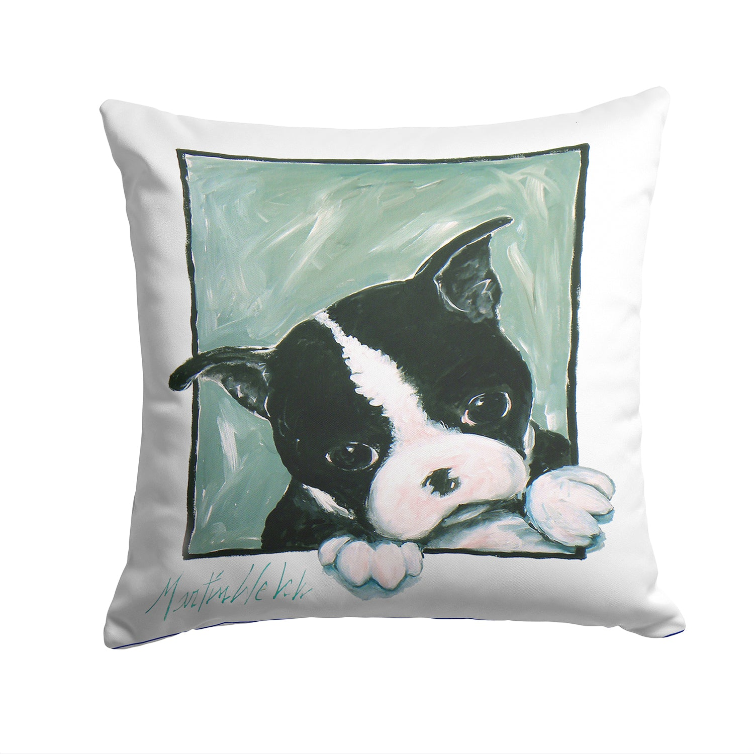 Boston Terrier Don't Leave Me Fabric Decorative Pillow MW1313PW1414 by Caroline's Treasures