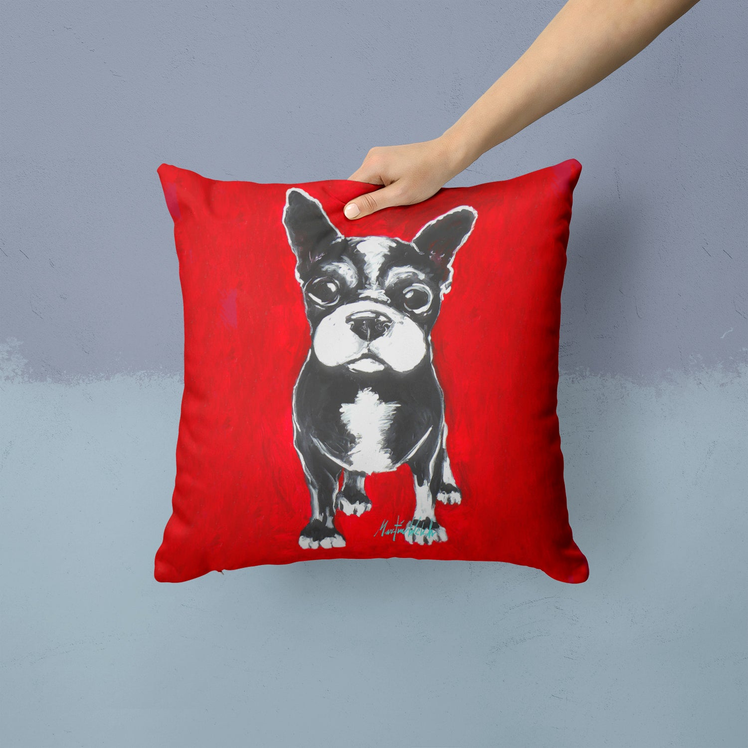 Boston Terrier Runt Fabric Decorative Pillow MW1314PW1414 by Caroline's Treasures