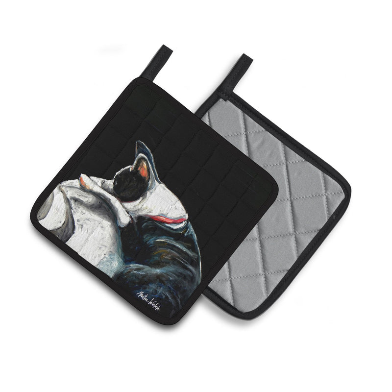 Buy this Boston Terrier Spot in the Sun Pair of Pot Holders MW1315PTHD